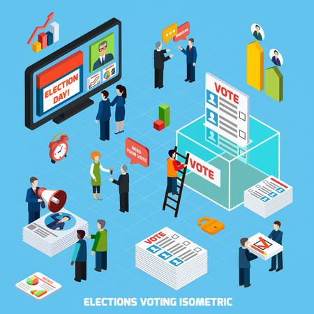 electioneering: Elections and voting isometric design composition with people busy in tv advertising of election day debates and voter counting flat vector illustration Illustration