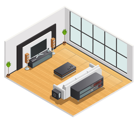 speakers desk: Living room or hotel lounge with large tv screen speakers and white couch isometric view vector illustration