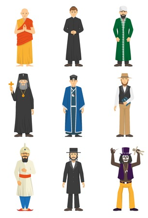 confession: Color icons set of religion confession people Vector illustration