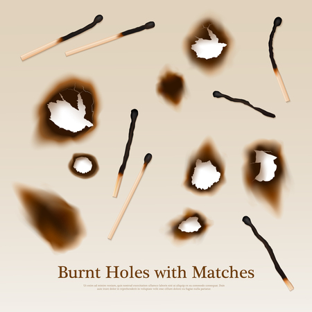 burnt: Paper with set of burnt holes and matches abstract vintage background in realistic style vector illustration