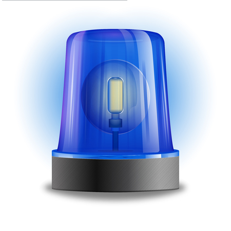 flasher: Single design element demonstrating blue flasher siren with spinning beacon for police cars ambulance or fire trucks vector illustration