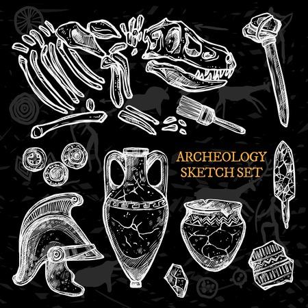 archeology: Archeology chalkboard sketch set of ancient ceramic pitchers knight helmet animal bones vector illustration Illustration