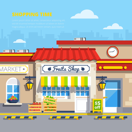 sidewalk: Street shops retro design concept with fruits shop in center and boxes of apples and strawberries on sidewalk flat vector illustration