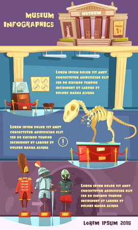 museum: Color cartoon infographic with title description room and exhibits of museum vector illustration