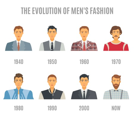 Men Fashion Icons Set. Fashion Evolution Avatar Vector Illustration. Man Fashion Evolution Decorative Set. Fashion Evolution Design Set. Fashion Evolution Flat Isolated Set.