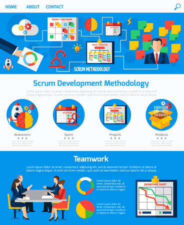 frameworks: Scrum agile development methodology website one page design with process flowchart and teamwork concept abstract vector illustration Illustration
