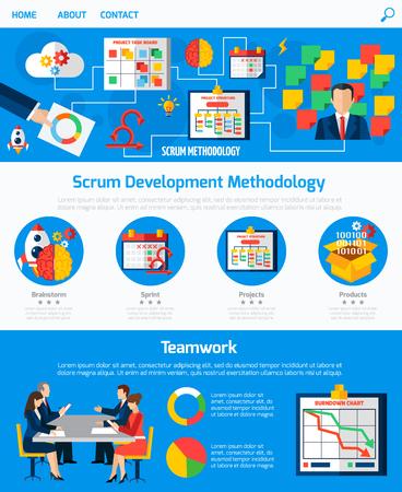 Scrum développement agile site web de la méthodologie de conception d'une page avec organigramme de processus et le concept de travail d'équipe abstraite illustration vectorielle