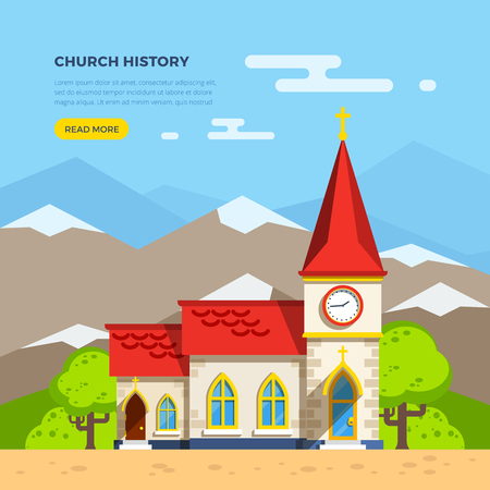 clock tower: Beautiful historic church building with clock tower with trees around on background with mountains flat vector illustration