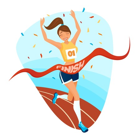 female athlete: Winner girl design concept with young female athlete in sportswear running on treadmill to finishing tape flat vector illustration Illustration
