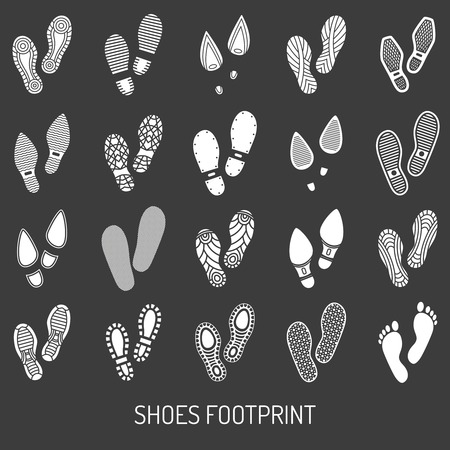 shoe: Monochrome icons set of pair shoes footprint with black background  vector illustration