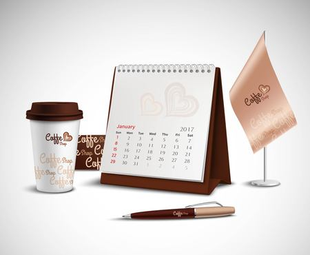 organize: Calendar pen flag and glass corporate identity mockup set with design for coffee shop on light background realistic vector illustration