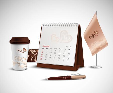 Calendario de la bandera de la pluma y vidrio maqueta identidad corporativa conjunto con un diseño de tienda de café sobre fondo claro ilustración vectorial realista