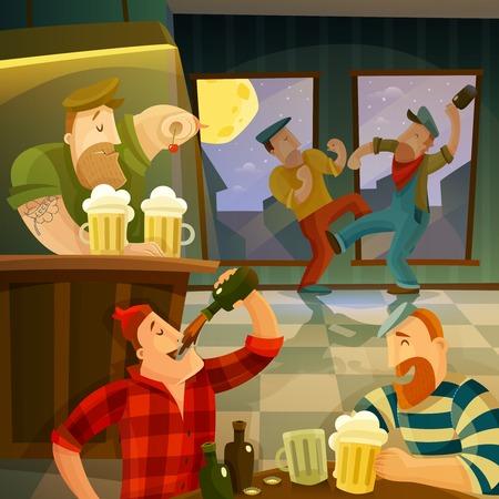 illustration people: Irish pub interior with drinking and dancing people cartoon vector illustration