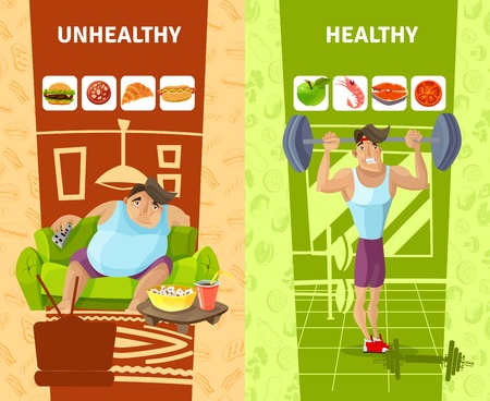 sedentario: hombre banners verticales saludables y no saludables Conjunto de dibujos animados ilustración vectorial Vectores
