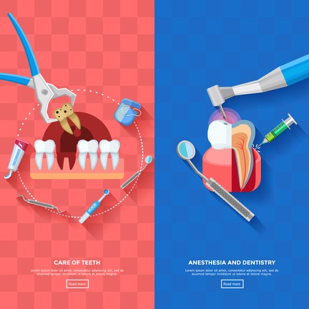 anesthesia: Vertical dentist banners with stages of teeth treatment and necessary equipment for teeth care on pink and blue plaid background flat isolated vector illustration Illustration