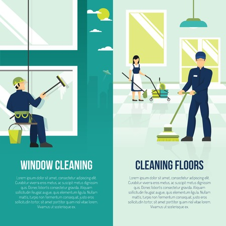 Professional industrial floor and windows cleaning services 2 flat vertical advertisement banners set abstract isolated vector illustration Vectores