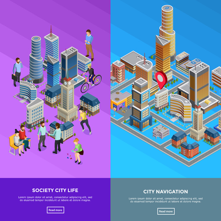 shopping people: Vertical isometric city banners presenting society life and city navigation isolated vector illustration