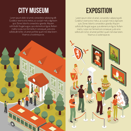 archaeological: Fine art museum gallery painting exhibition 2 isometric vertical banners set with visitors abstract isolated vector illustration Illustration