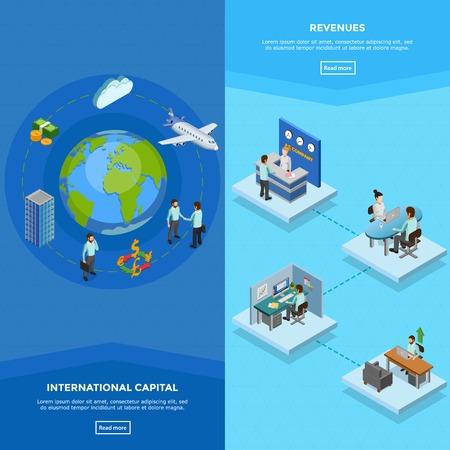 negocios internacionales: banners verticales de negocios con empleados en sus lugares de trabajo y el concepto internacional de capitales aislado ilustración vectorial isométrica Vectores