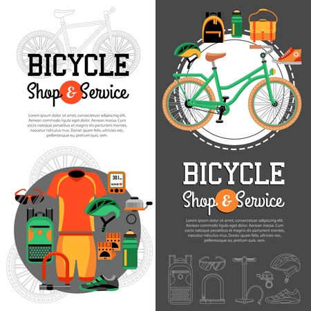 mountain biking: Two vertical banners with advertising of mountain biking accessories shop and service for bicycle vector illustration