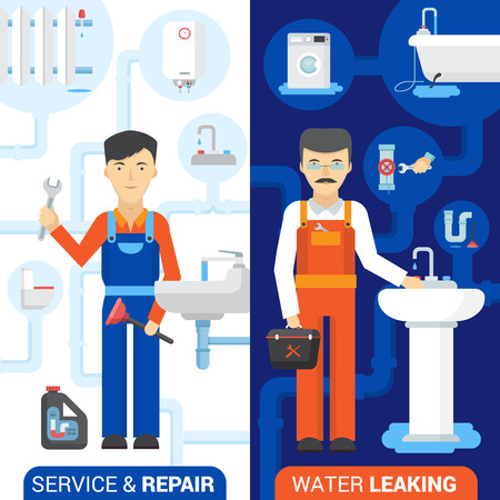 fixing: Drain cleaning and fixing leaking toilets plumber repair service 2 flat vertical banners abstract isolated vector illustration Illustration