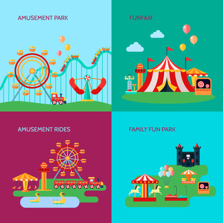 rides: Amusement park concept icons set with amusement rides symbols flat isolated vector illustration