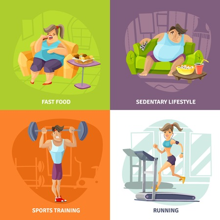 salud y deporte: La obesidad y el concepto de salud iconos conjunto con la ilustración vectorial aislado de estilo de vida sedentario y deportes símbolos de preparación de dibujos animados Vectores