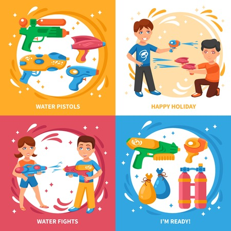 guns: Water pistols concept icons set with water fights and happy holiday symbols flat isolated vector illustration Illustration