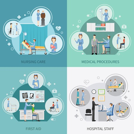 hospital staff: Nurse health care 2x2 design concept set of hospital staff providing first aid and performing medical procedures flat vector illustration