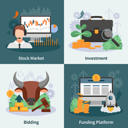broker: Investment and trading 2x2 design concept with broker bidding market rate venture capital images flat vector illustration