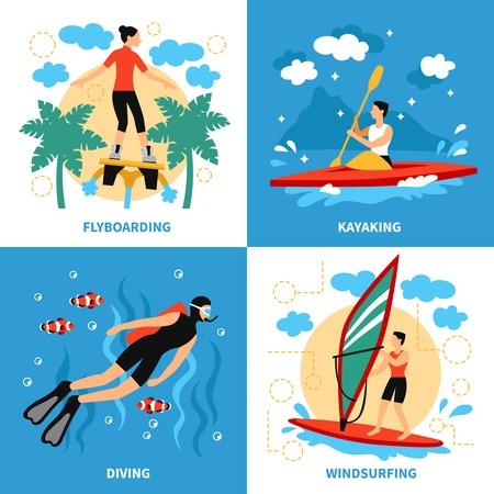 water sport: Water Sport Concept. Water Sport Vector Illustration.Water Sport  Flat Icons Set. Water Sport Design Set.Water Sport  Isolated Elements. Illustration