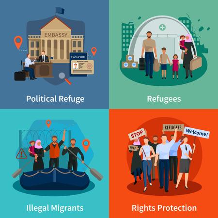 réfugiés Apatrides 2x2 concept ensemble de refuge politique réunion de protection des droits des immigrants illégaux compositions plates illustration vectorielle Vecteurs