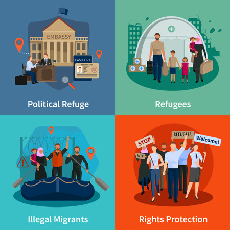 Stateless refugees  2x2 design concept set of political refuge illegal immigrants rights protection meeting flat compositions  vector illustration 矢量图像