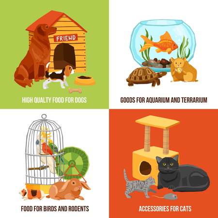 rabbit cage: Home pets 2x2 design concept set of high quality food and accessories for dogs cats birds and rodents vector illustration