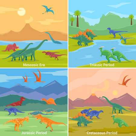triassic: Dinosaurs 2x2 design concept set of cartoon compositions of jurassic triassic cretaceous and mesozoic periods flat vector illustration