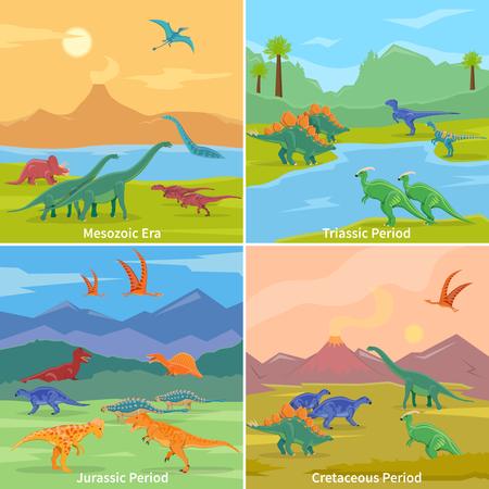 deinonychus: Dinosaurs 2x2 design concept set of cartoon compositions of jurassic triassic cretaceous and mesozoic periods flat vector illustration