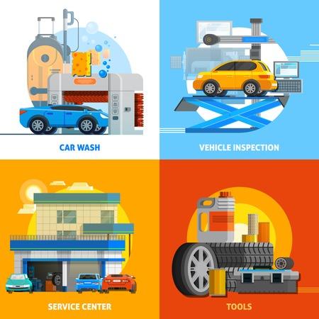 Servicio auto concepto de diseño 2x2 conjunto de lavado de coches del vehículo centro de servicio de inspección y herramientas para la ilustración vectorial plana de reparación Ilustración de vector