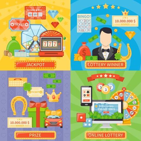 Loterij 2x2 design concept set van online loterij en jackpot composities en prijs en per winnaar vlakke pictogrammen vector illustratie
