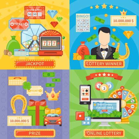 millionaire: Lottery 2x2 design concept set of online lottery and jackpot compositions and prize and winner flat icons vector illustration