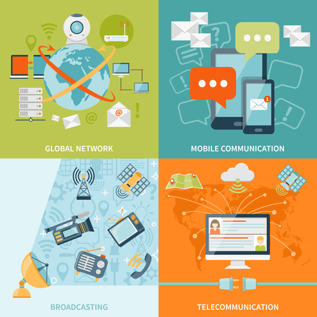 telecommunication: Telecommunication 2x2 design concept set of mobile radio and satellite communication and global network flat icons compositions vector illustration