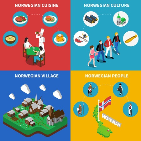 museum: Norway touristic map with norwegean village culture and food 4 isometric icons poster abstract vector isolated illustration