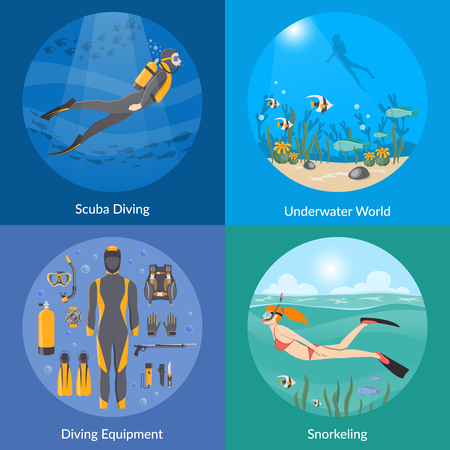 snorkelling: Diving and snorkeling 2x2 design concept set with diving equipment divers in underwater environment and girl swimming in mask snorkel and fins flat vector illustration