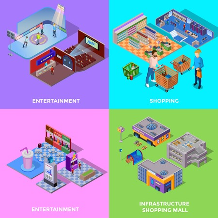 Shopping mall 2x2 icons set with different departments cinema cafe isolated isometric vector illustration