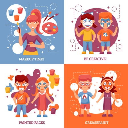 adult birthday party: Children With Painted Faces Concept. Party With Greasepaint Vector Illustration. Painted Faces Flat Icons Set. Greasepaint For Kids Design Set. Makeup For Children Isolated Elements.