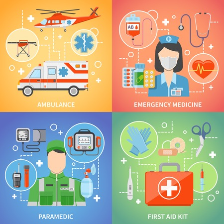 emergency medical: Paramedic 2x2 design concept set with medical equipment for first aid and emergency medicine flat vector illustration