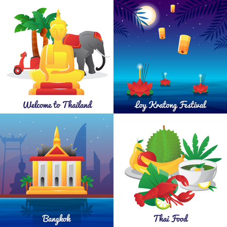 thailand food: Thailand landmarks food and national symbols and festivals 4 flat icons square poster abstract isolated vector illustration