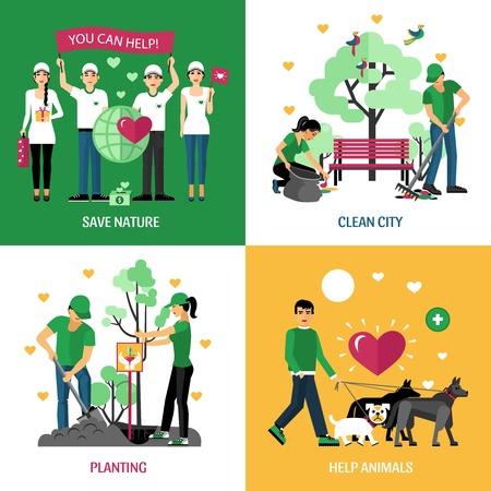 Vrijwilligers 2x2 design concept set van hulp dieren planten schone stad en op te slaan natuur actie composities flat vector illustratie Vector Illustratie