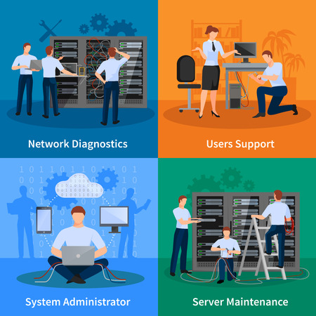 engineers: Network engineer and it administrator 2x2 design concept set of network diagnostics users support and server maintenance elements vector illustration