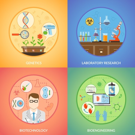 bioengineering: Biotechnology 2x2 design concept set of genetics bioengineering and laboratory research icons collection flat vector illustration