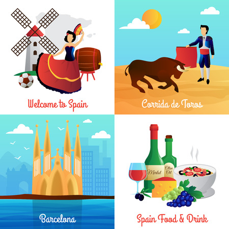 corrida: Spain travel with flamenco barcelona cathedral corrida and food 4 flat icons square poster abstract vector isolated illustration Illustration